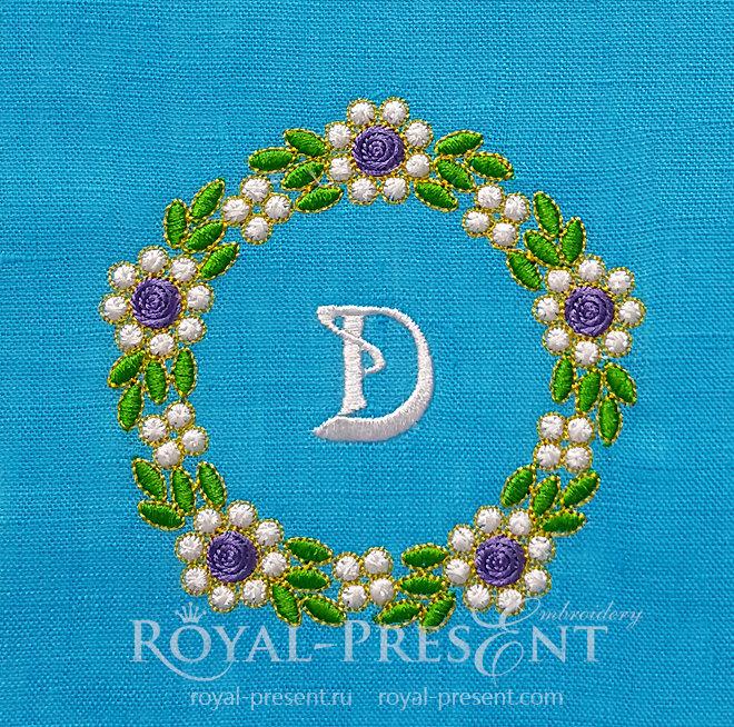 Floral Emerald Monogram Frame Machine Embroidery Design RPE-1451
