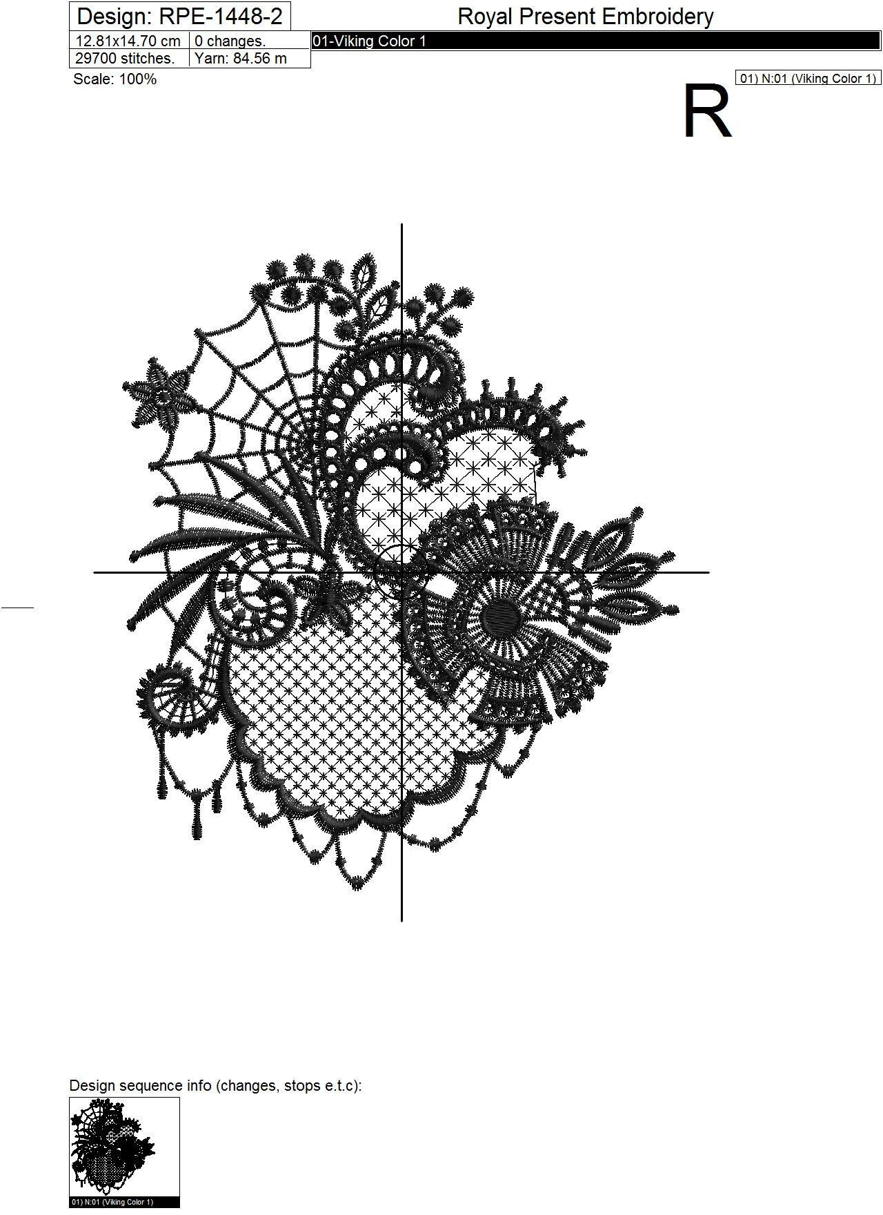 Lace Machine Embroidery Design Halloween - 4 sizes