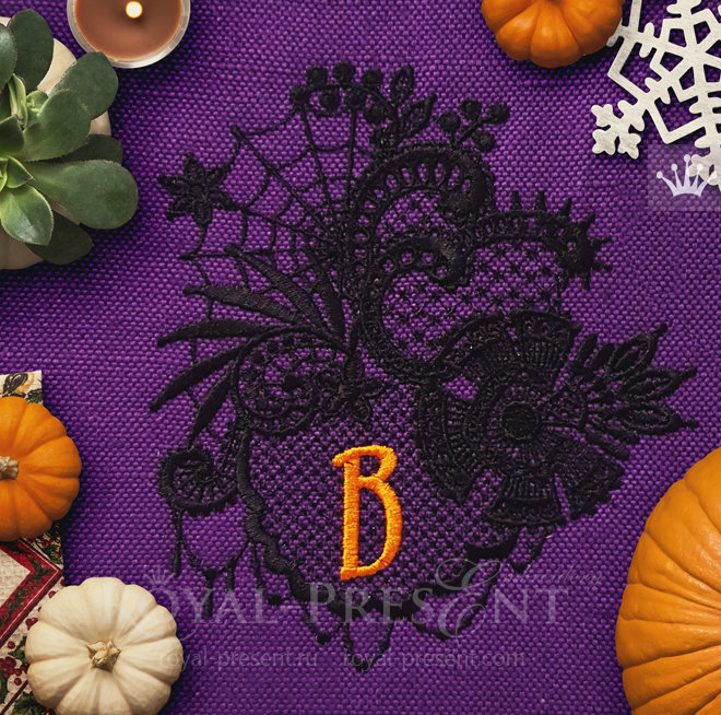 Lace Machine Embroidery Design Halloween - 4 sizes RPE-1448