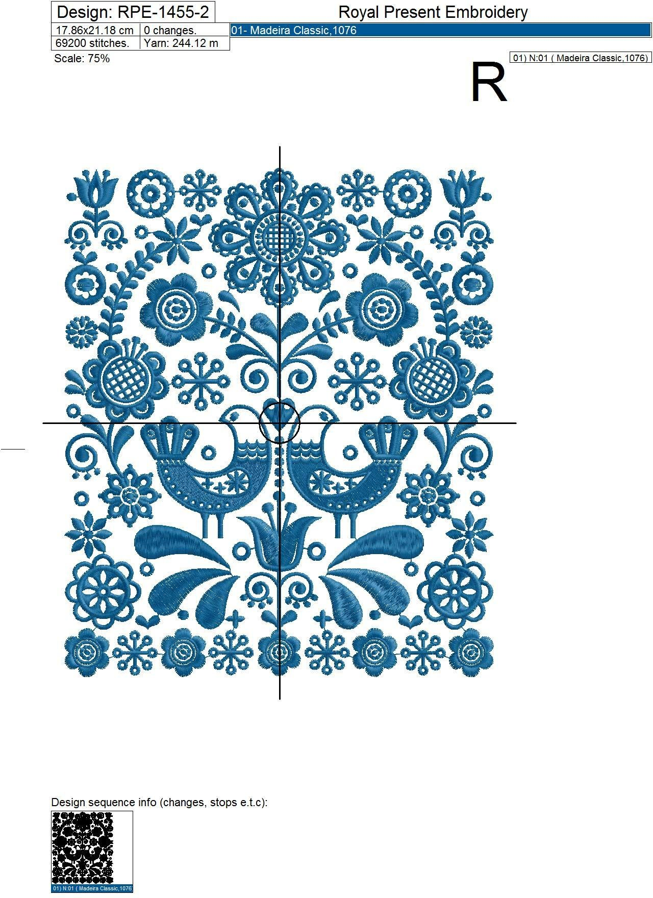 Scandinavian floral pattern Machine Embroidery Design - 3 sizes