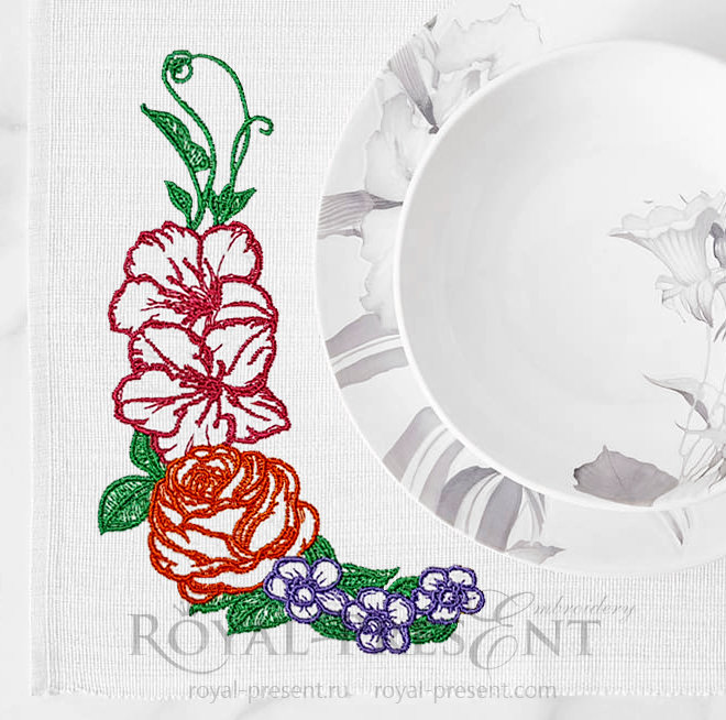 Outline Flowers Free Machine Embroidery Design