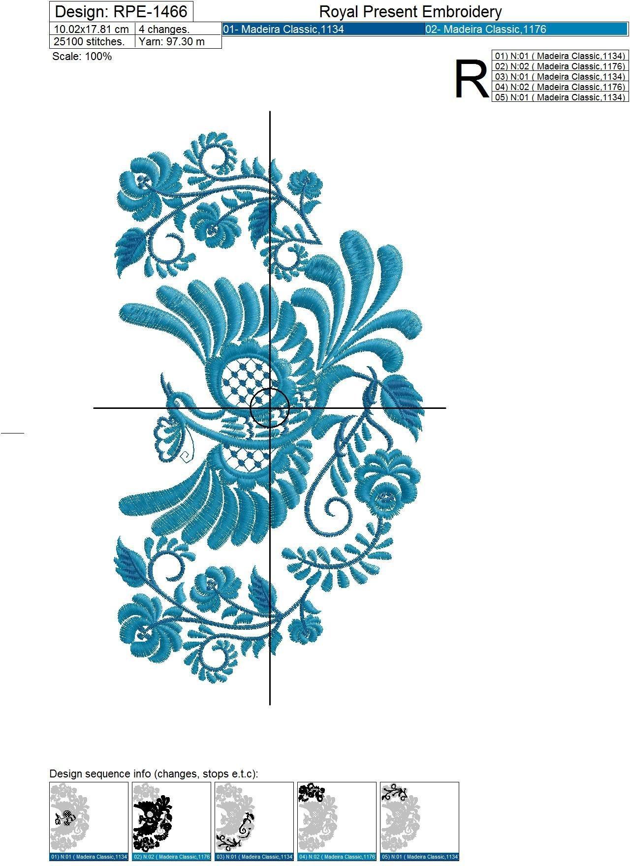 Russian national Bird Machine Embroidery Design - 3 sizes