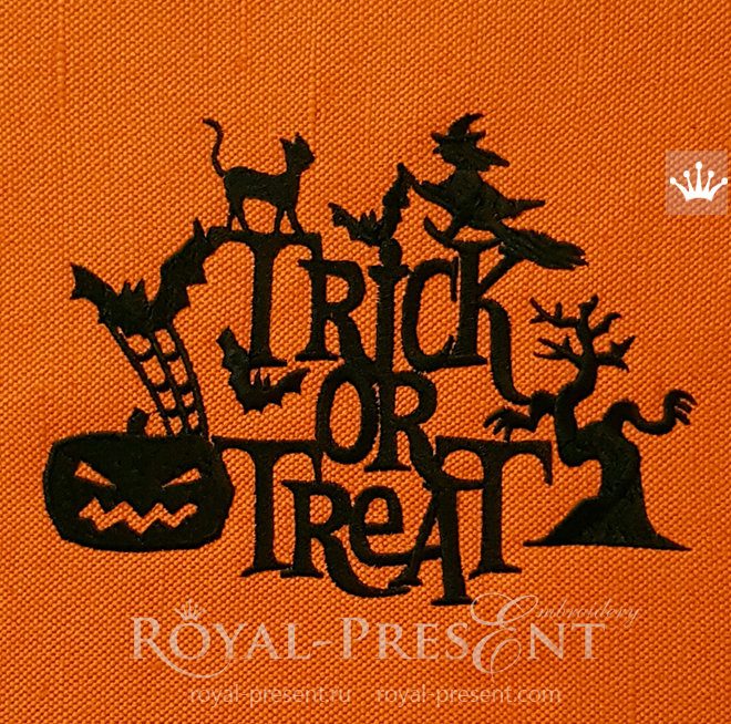 Silhouette Trick or Treat Machine Embroidery Design - 3 sizes