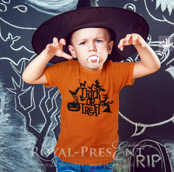 Silhouette Trick or Treat Machine Embroidery Design - 3 sizes RPE-1469