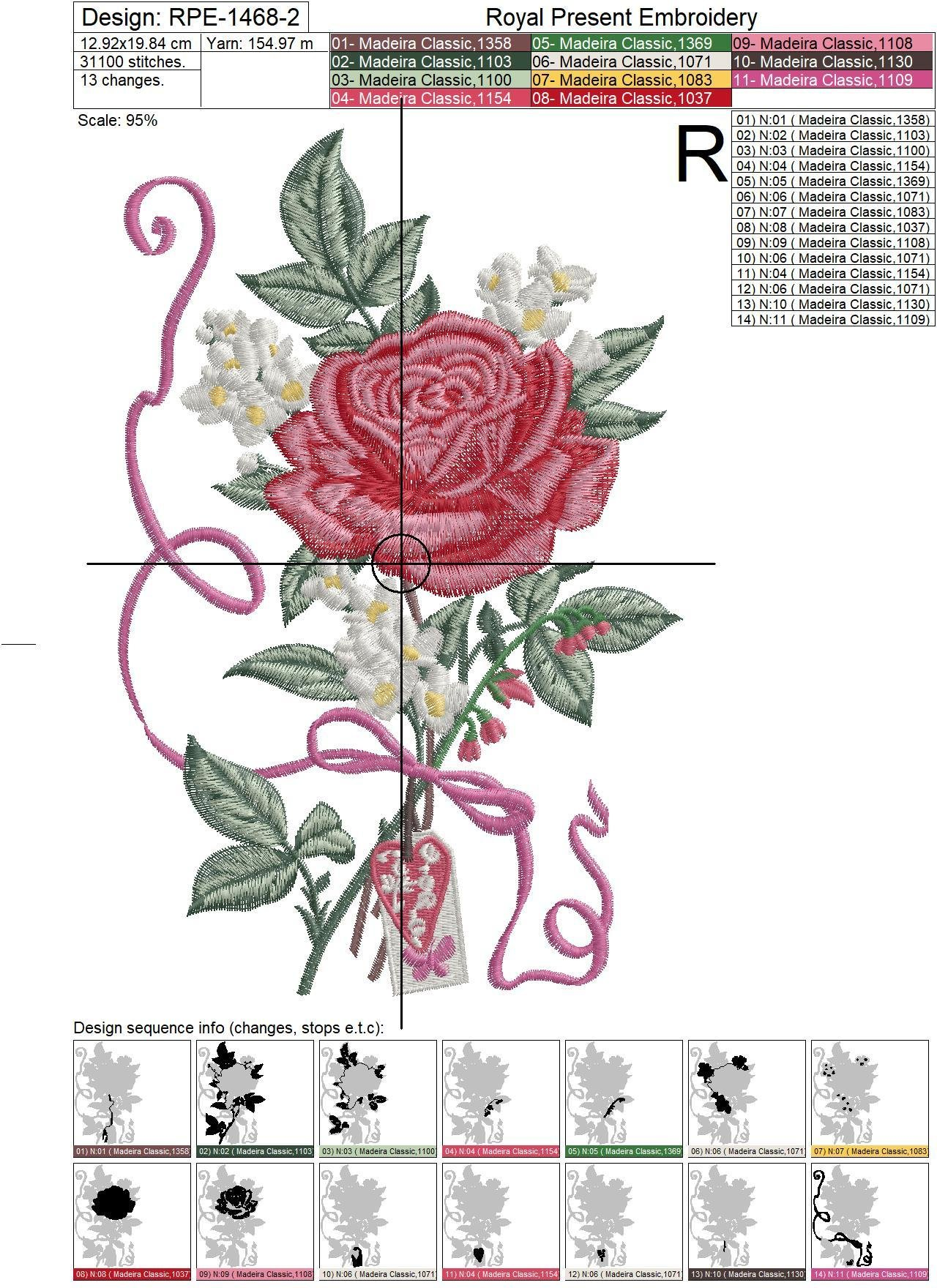 Rose and Jasmine Machine Embroidery Design - 2 sizes