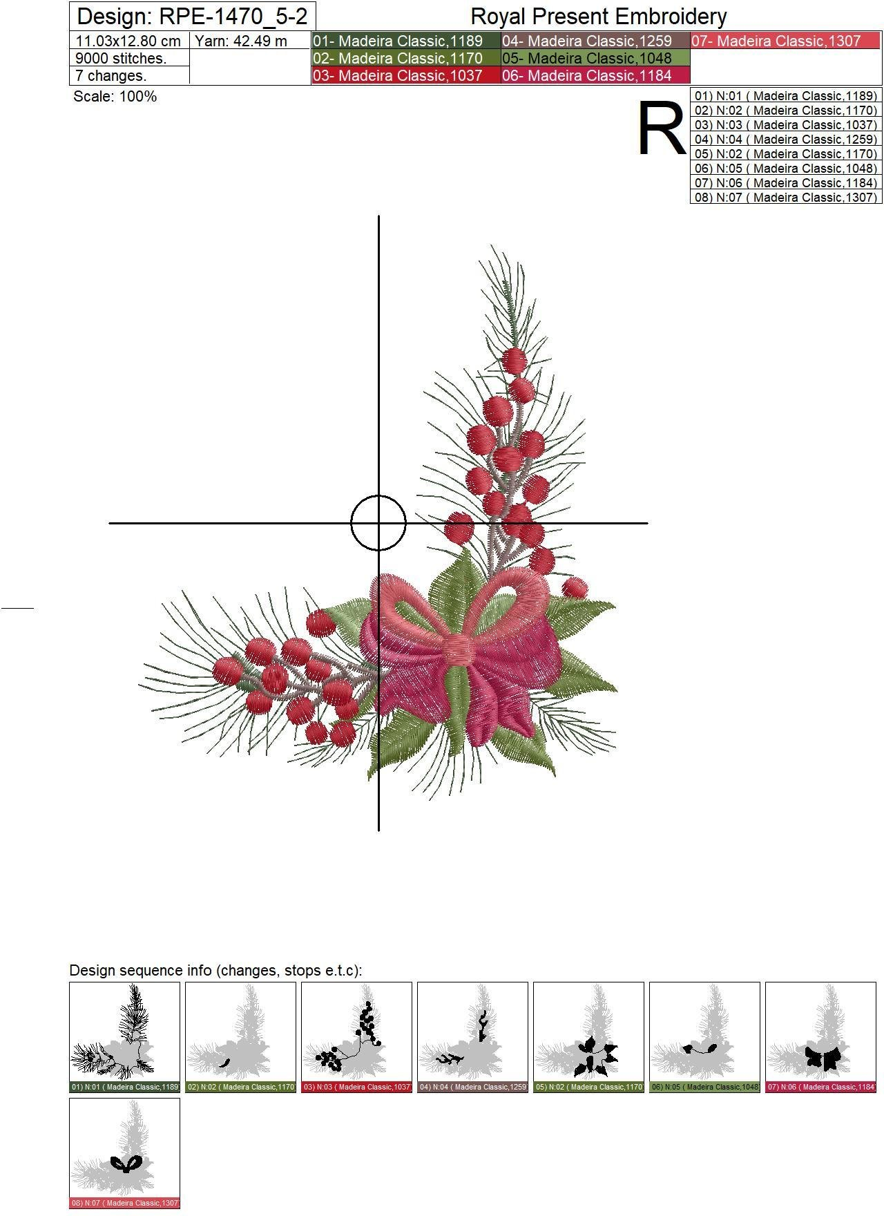 Christmas Corner Embroidery Design with bow - 2 sizes