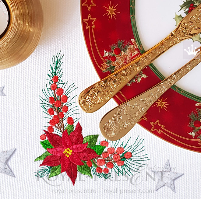 Christmas Corner Embroidery Design with Poinsettia - 2 sizes RPE-1470_6