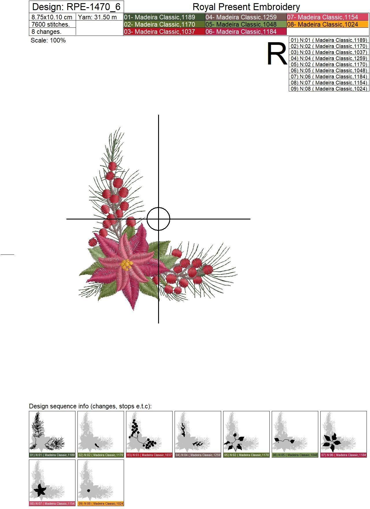 Christmas Corner Embroidery Design with Poinsettia - 2 sizes