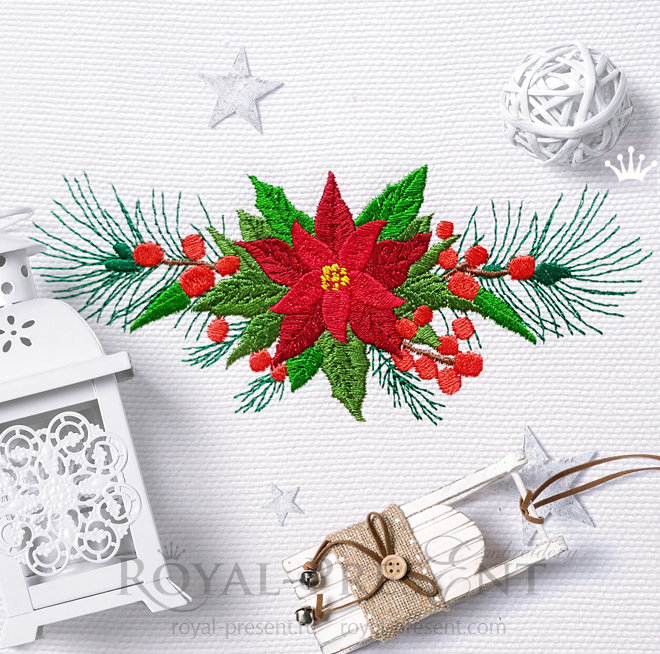 Poinsettia Border Machine Embroidery Design RPE-1470-2