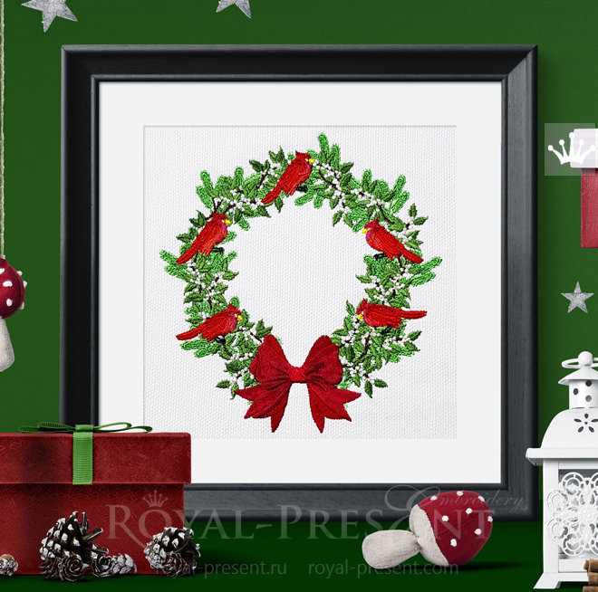 Christmas Festive Wreath Machine Embroidery Design - 7 sizes RPE-1479