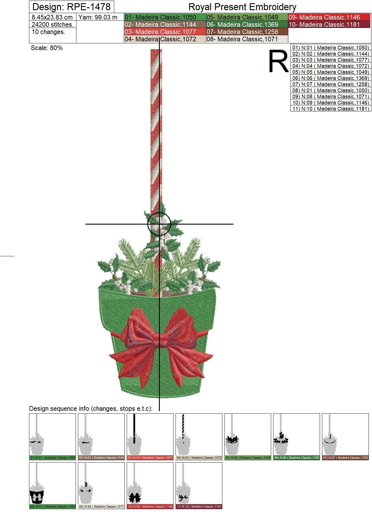Christmas tree wall art machine embroidery design - 2 sizes