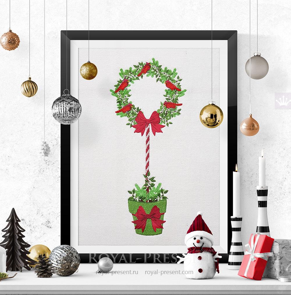 Christmas tree wall art machine embroidery design - 2 sizes RPE-1478