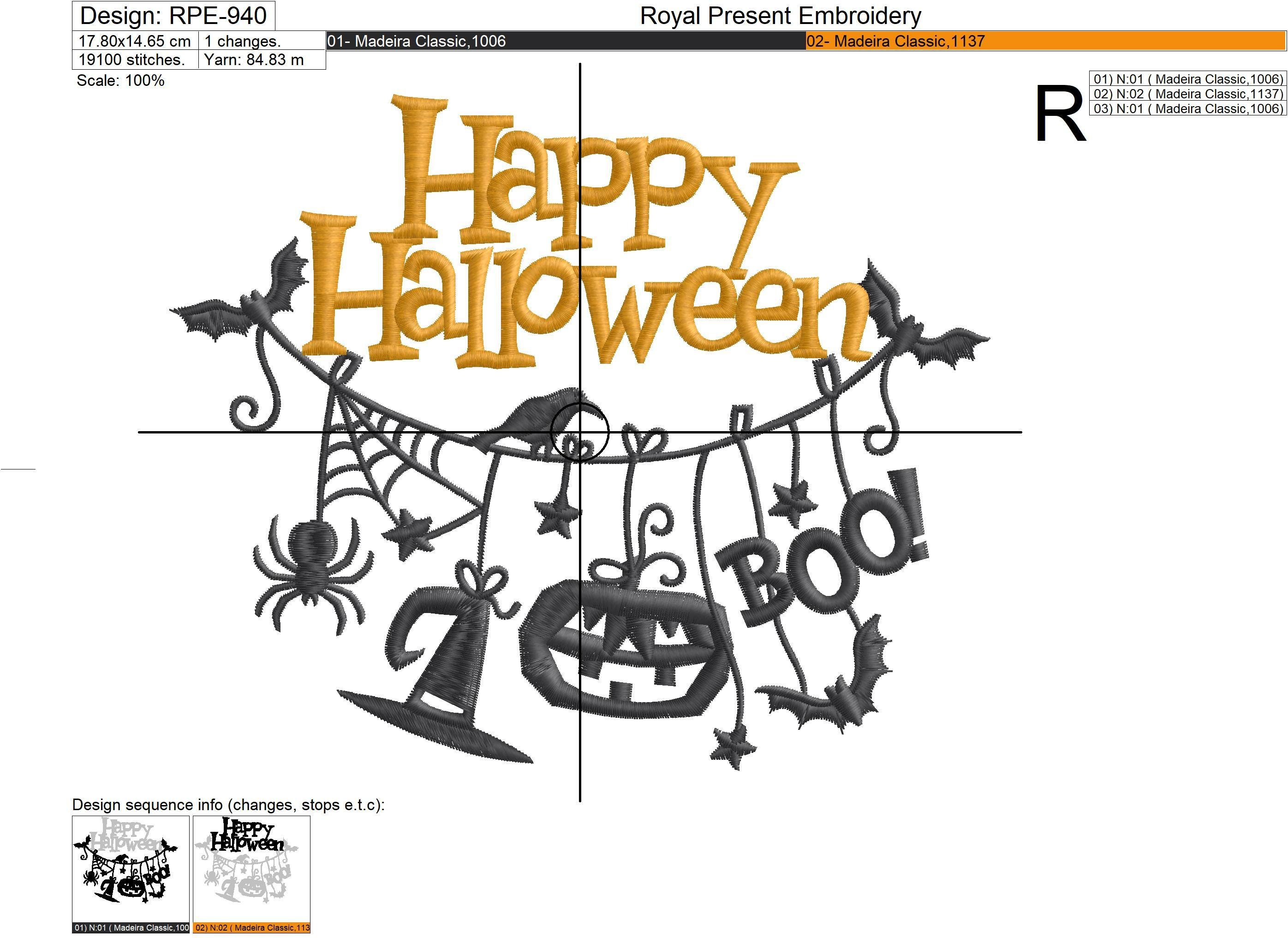 Halloween Hanging Decorations Machine Embroidery Design