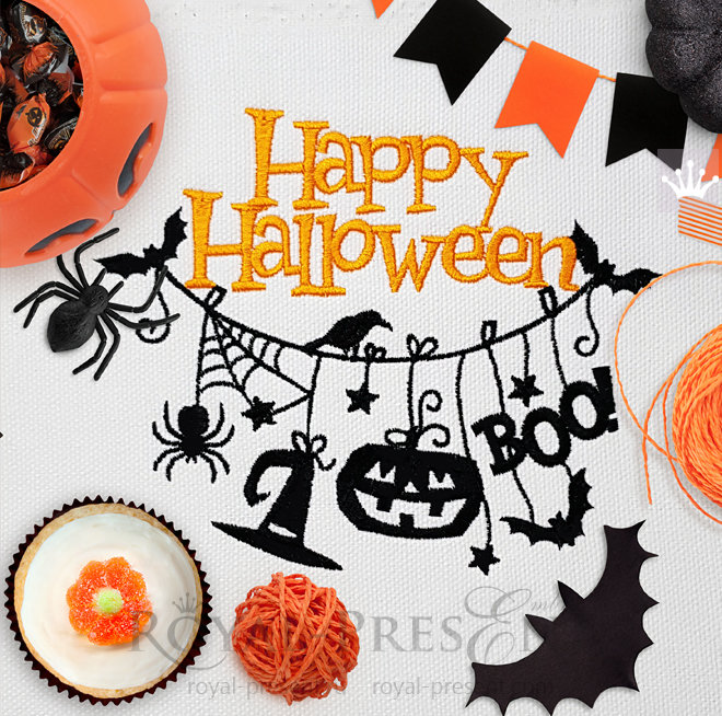Halloween Hanging Decorations Machine Embroidery Design RPE-940