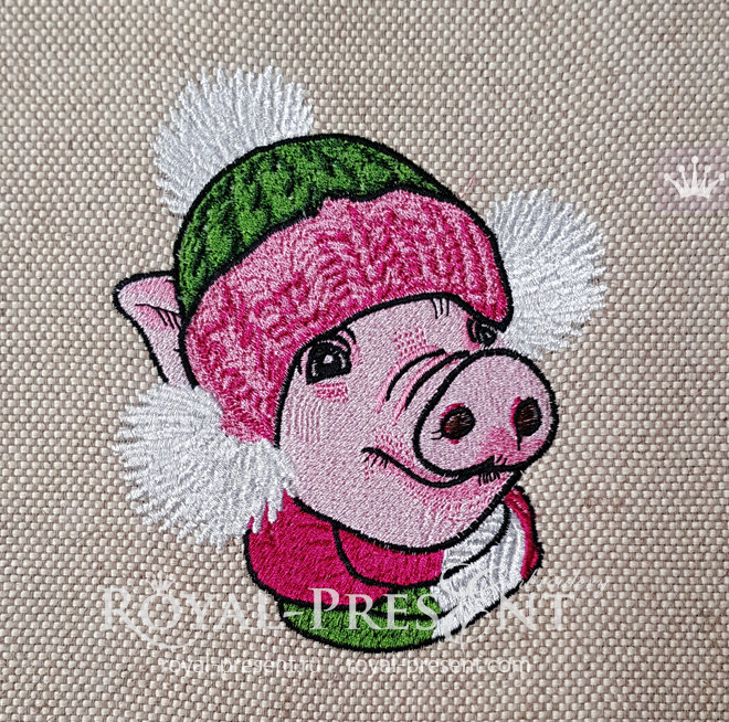 Christmas Pig Machine Embroidery Design - 5 sizes