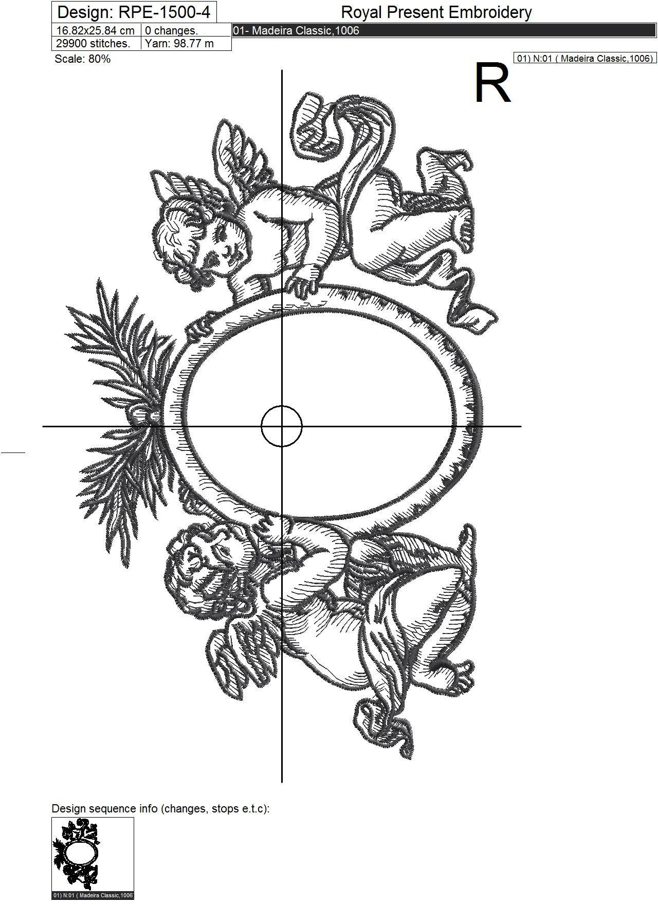 Baroque Angels Frame Machine embroidery design - 7 sizes