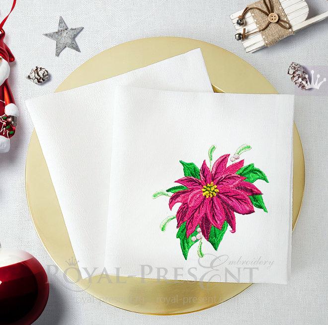 Poinsettia Free Machine Embroidery Design - 2 sizes RPE-1499
