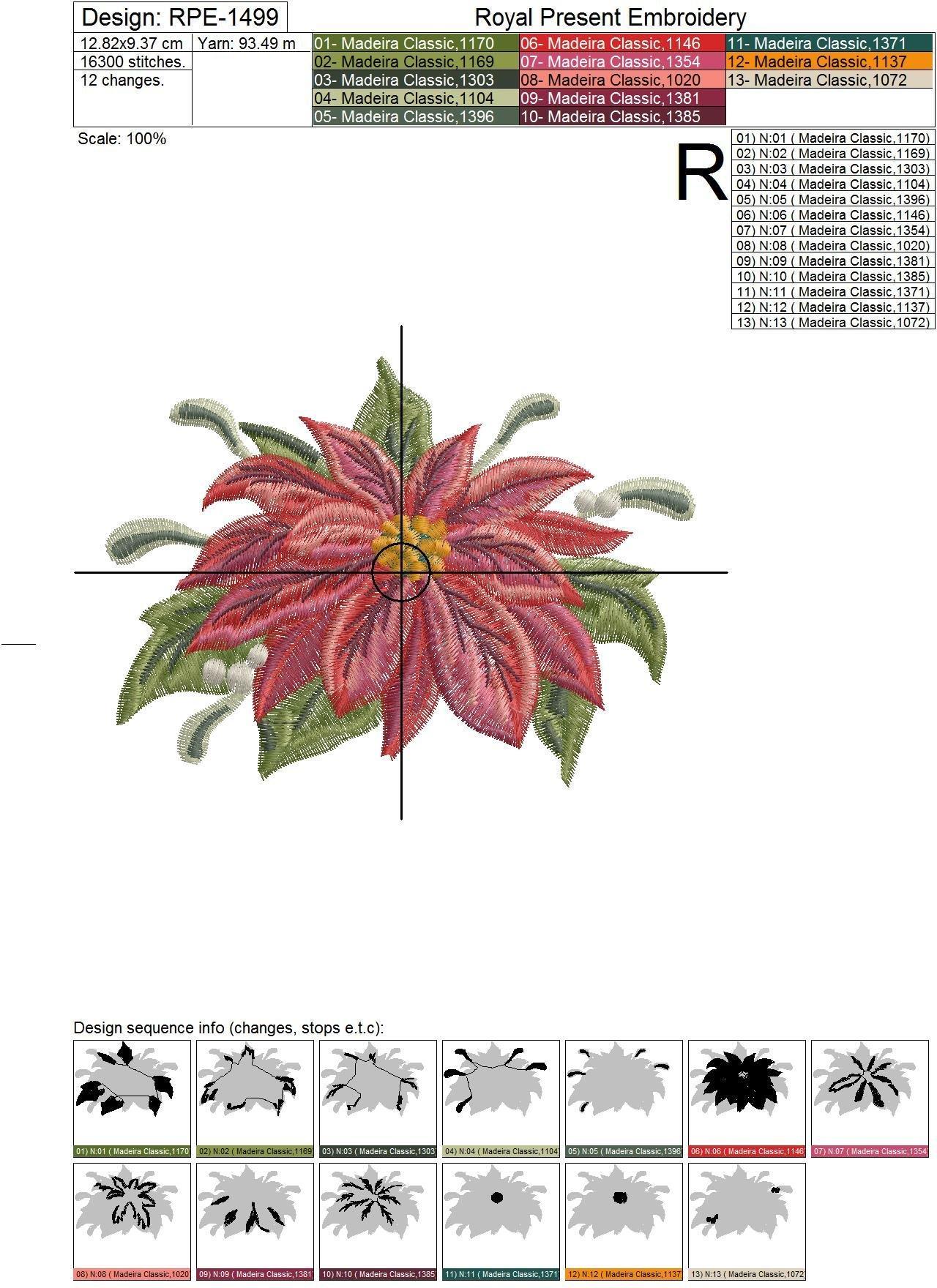 Poinsettia Free Machine Embroidery Design - 2 sizes