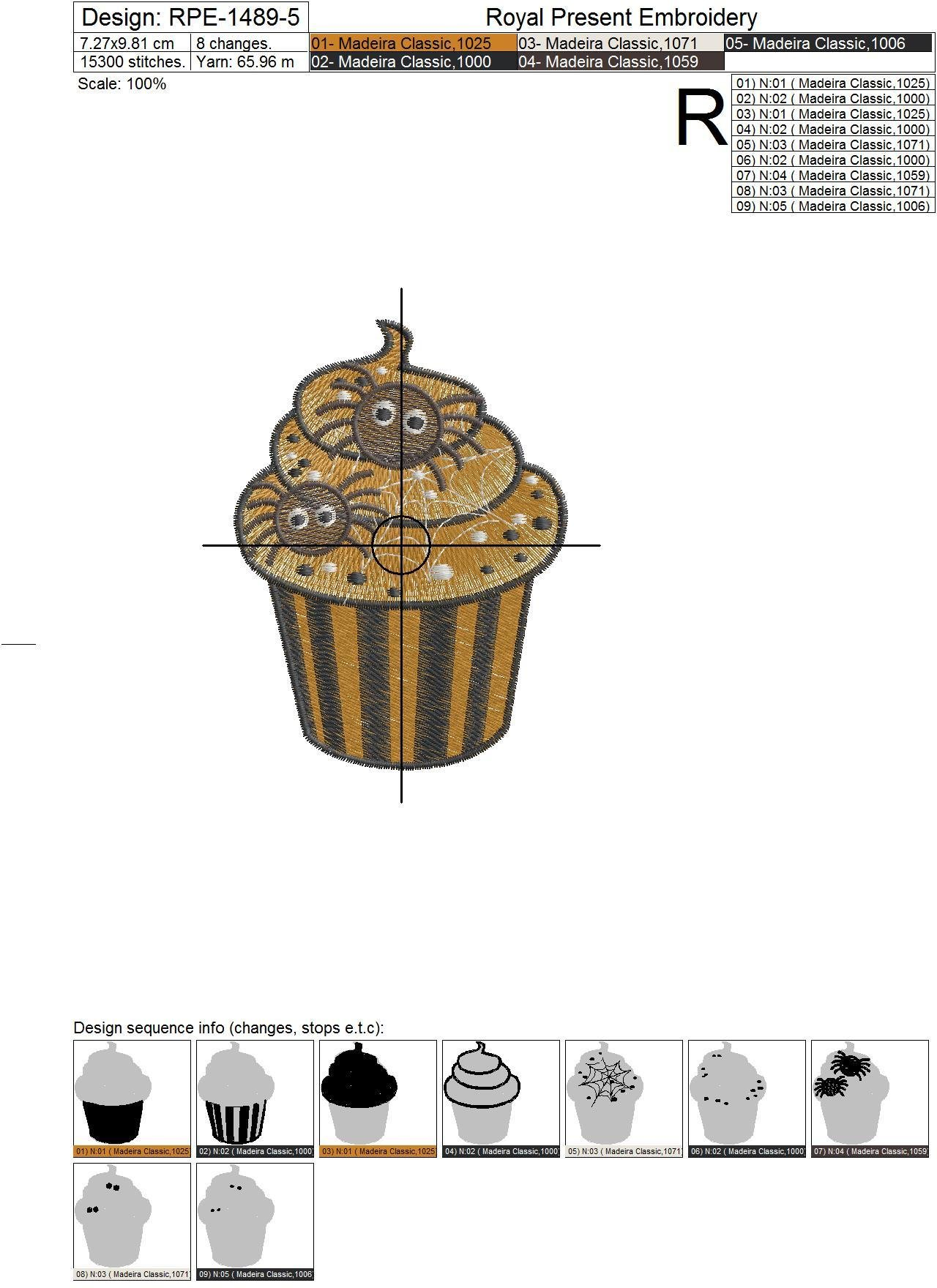 Terrible Halloween Cupcake Machine Embroidery Design - 3 sizes