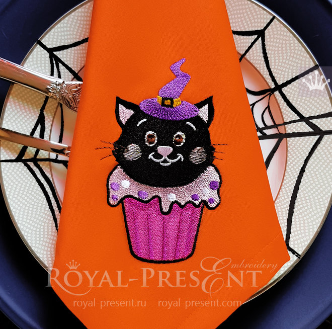Halloween Cat Cupcake Machine Embroidery Design - 3 sizes RPE-1489-3