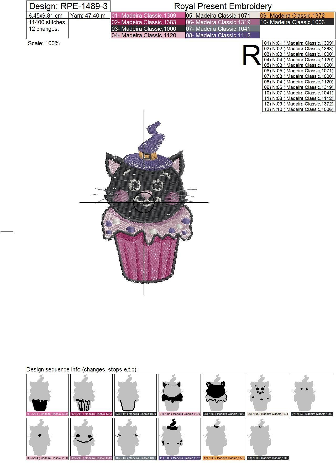 Halloween Cat Cupcake Machine Embroidery Design - 3 sizes