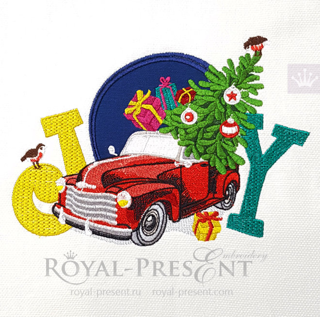 Red Christmas Truck Machine Embroidery Design with applique - 4 sizes