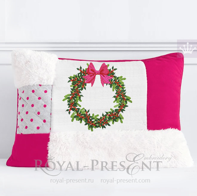 Machine Embroidery Design Christmas wreath with berry - 5 sizes RPE-1482
