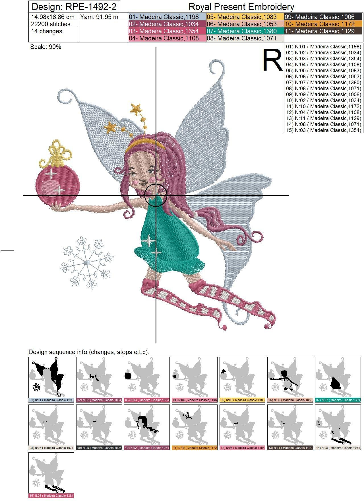 Winter Fairy Machine Embroidery Design - 4 sizes