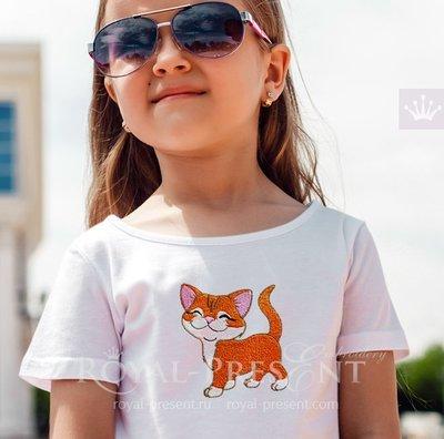 Machine Embroidery Design Cute Kitten walking proud - 2 sizes