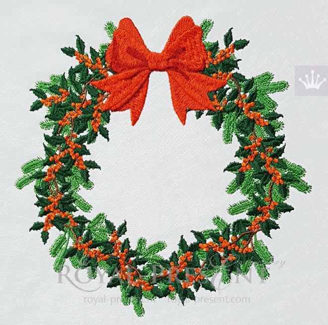 Machine Embroidery Design Christmas wreath with berry - 5 sizes