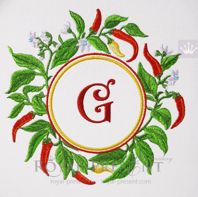 Cayenne Pepper Frame Machine Embroidery Design - 4 sizes