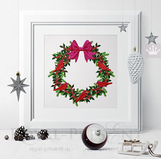 Machine Embroidery Design Christmas Festive Wreath - 3 sizes RPE-1481