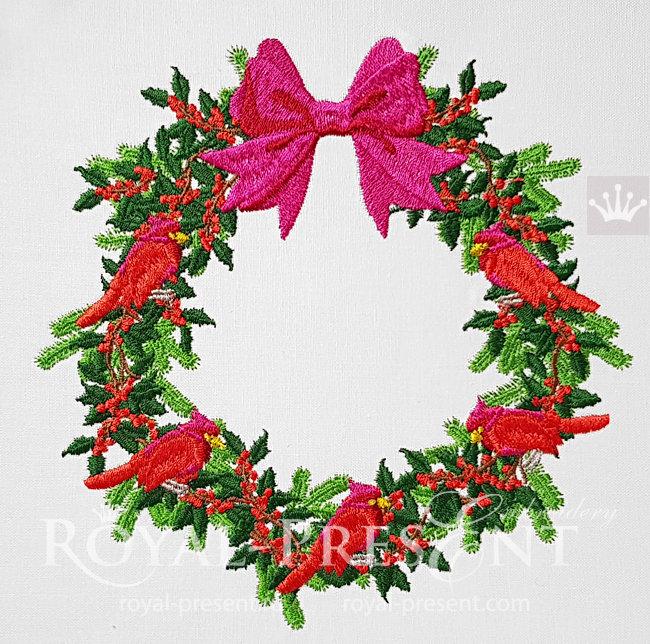 Machine Embroidery Design Christmas Festive Wreath - 3 sizes