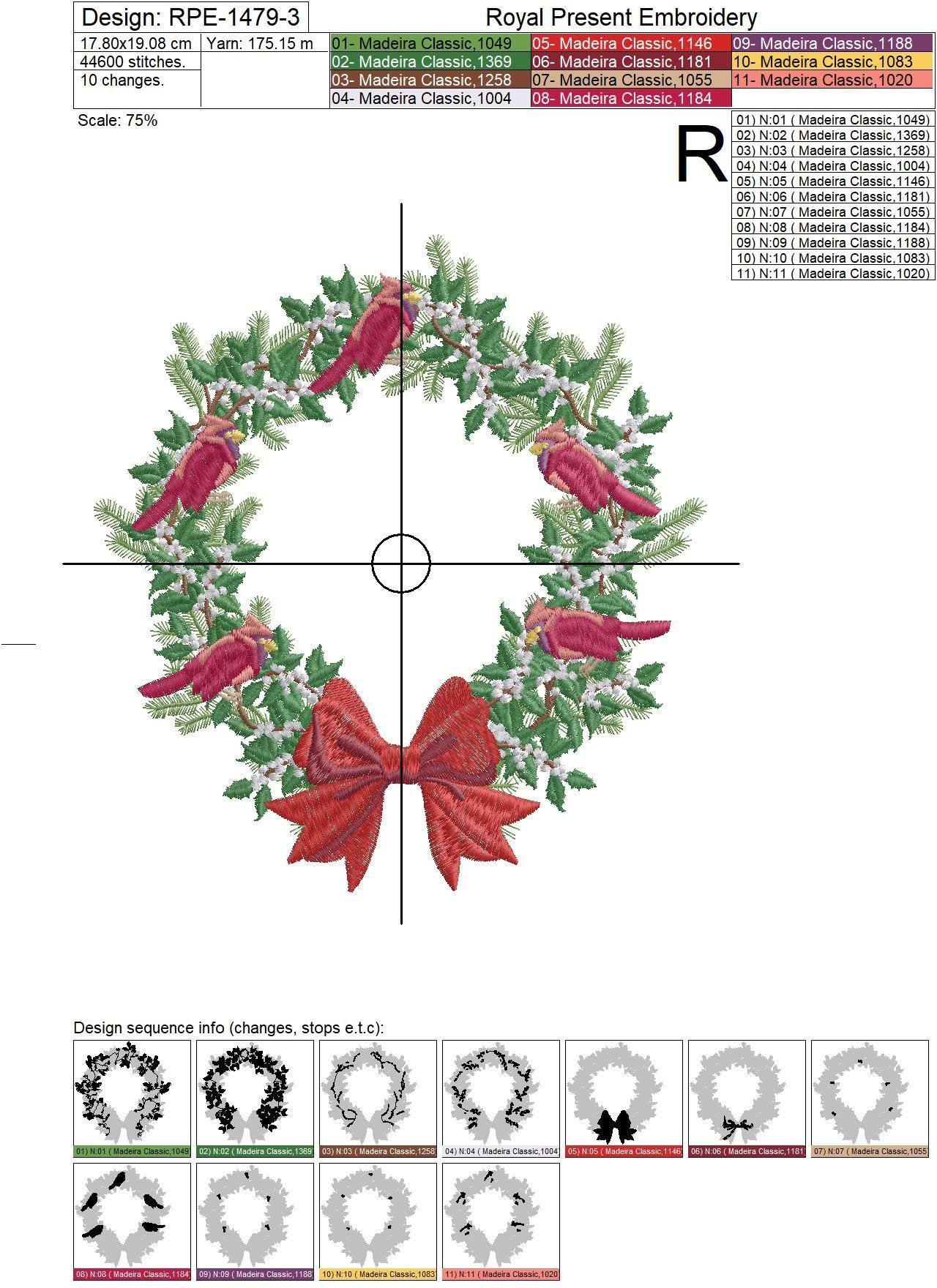 Christmas Festive Wreath Machine Embroidery Design - 7 sizes