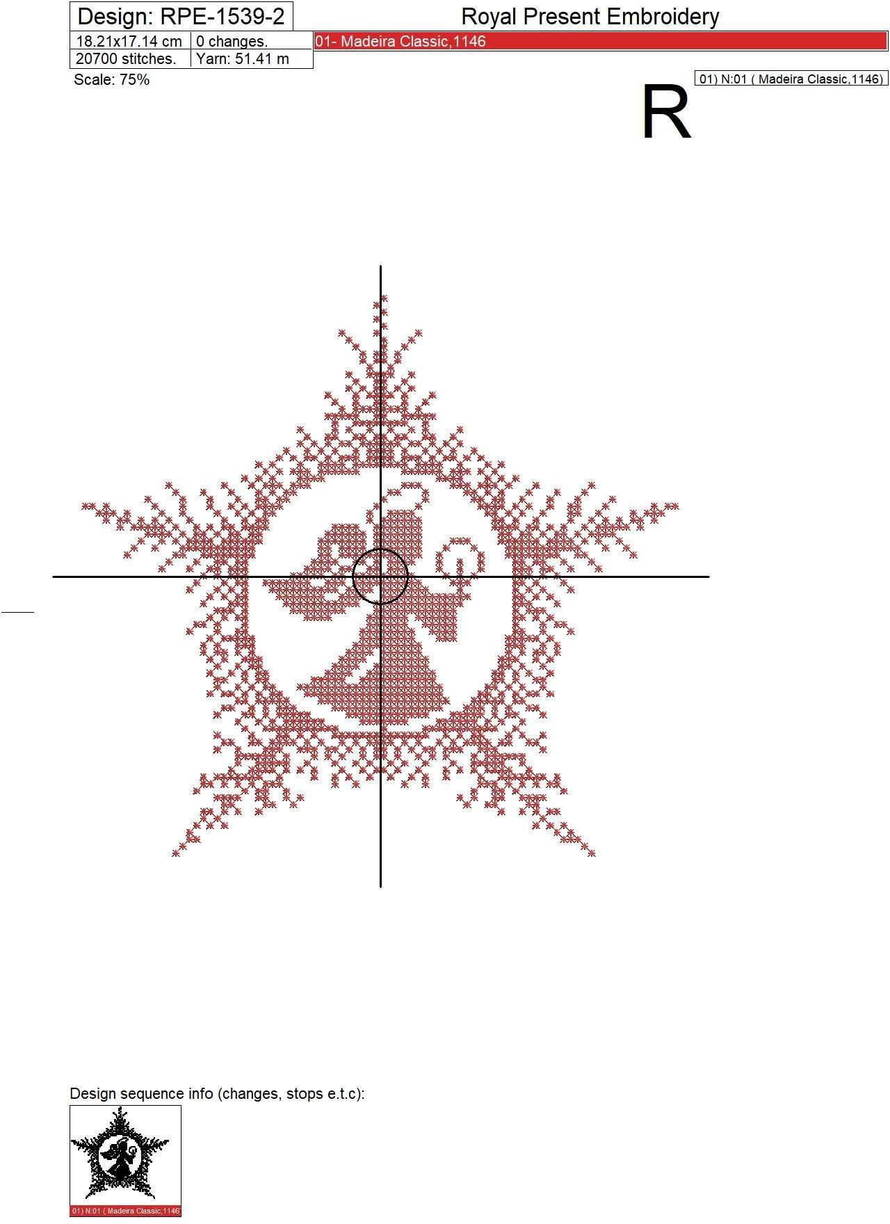 Christmas Angel Cross-stitch Machine Embroidery Design - 4 sizes