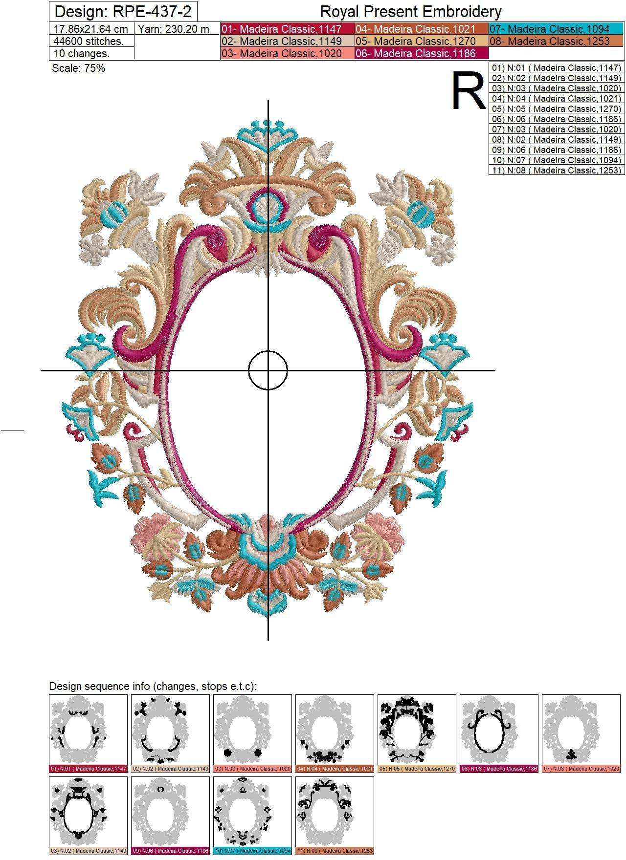 Machine Embroidery Design Luxury Monogram Blank - 3 sizes