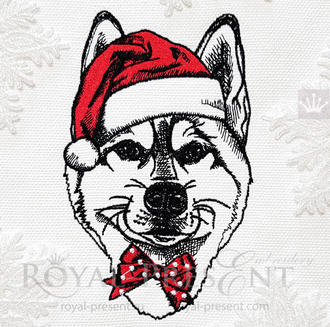 Machine Embroidery Design Christmas Husky dog - 4 sizes RPE-1540