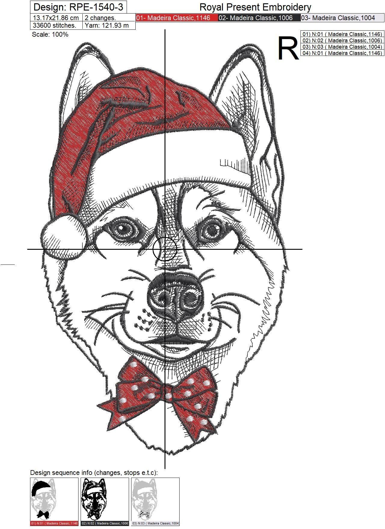 Machine Embroidery Design Christmas Husky dog - 4 sizes