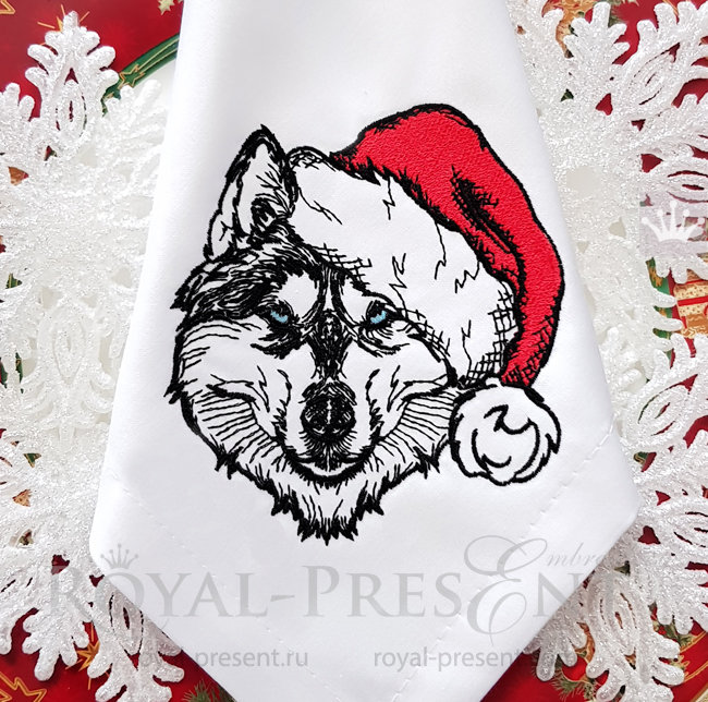 Christmas Husky dog Machine Embroidery Design - 3 sizes RPE-1516