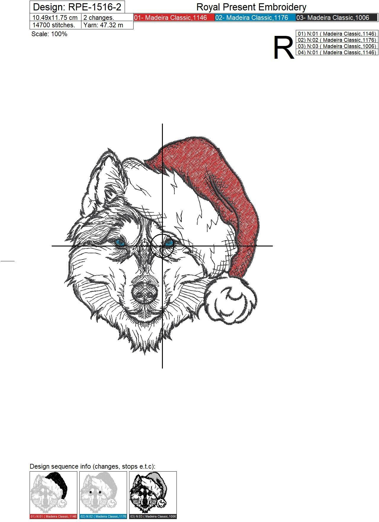 Christmas Husky dog Machine Embroidery Design - 3 sizes