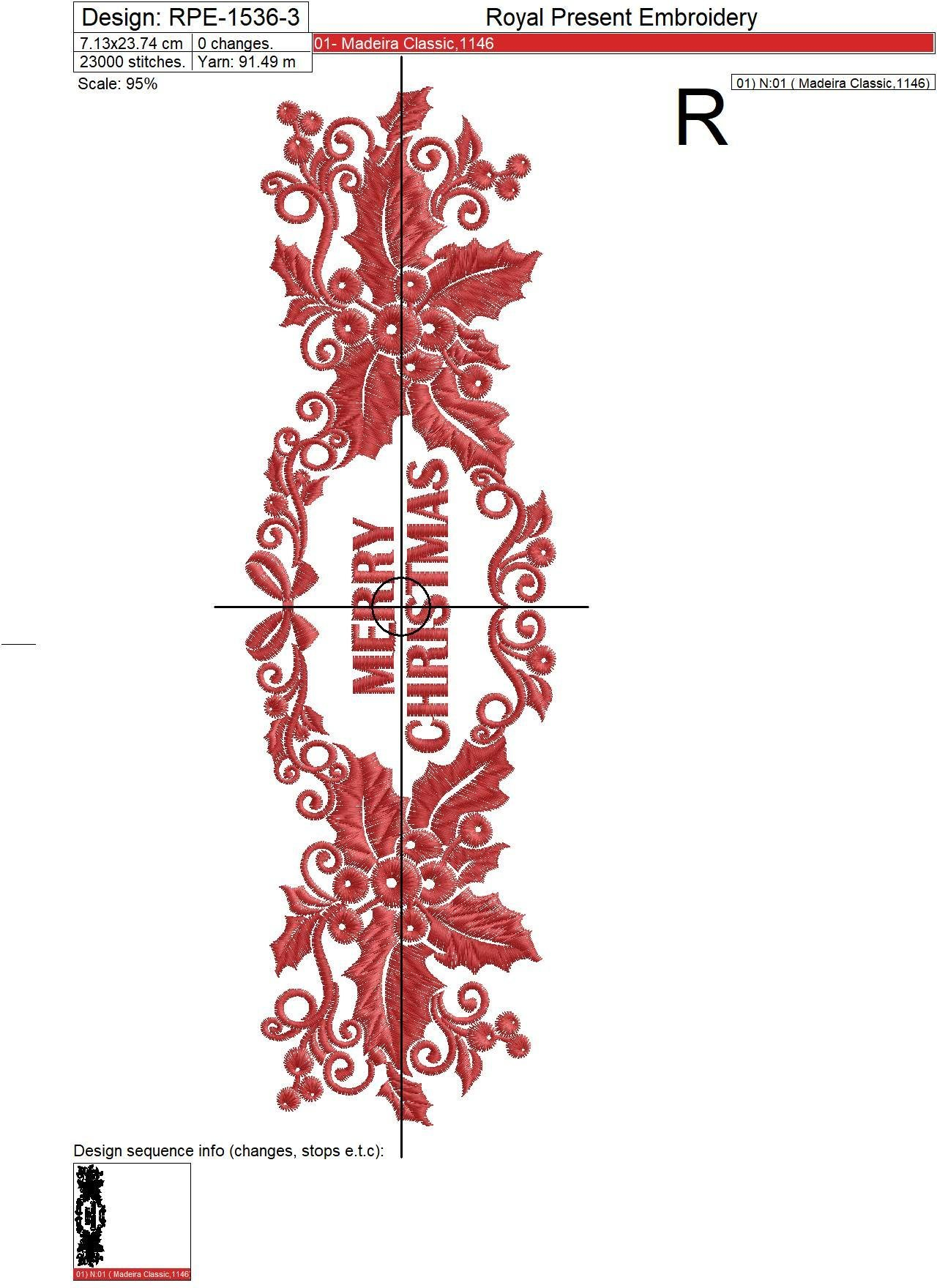 Merry Christmas border Embroidery Designs Set