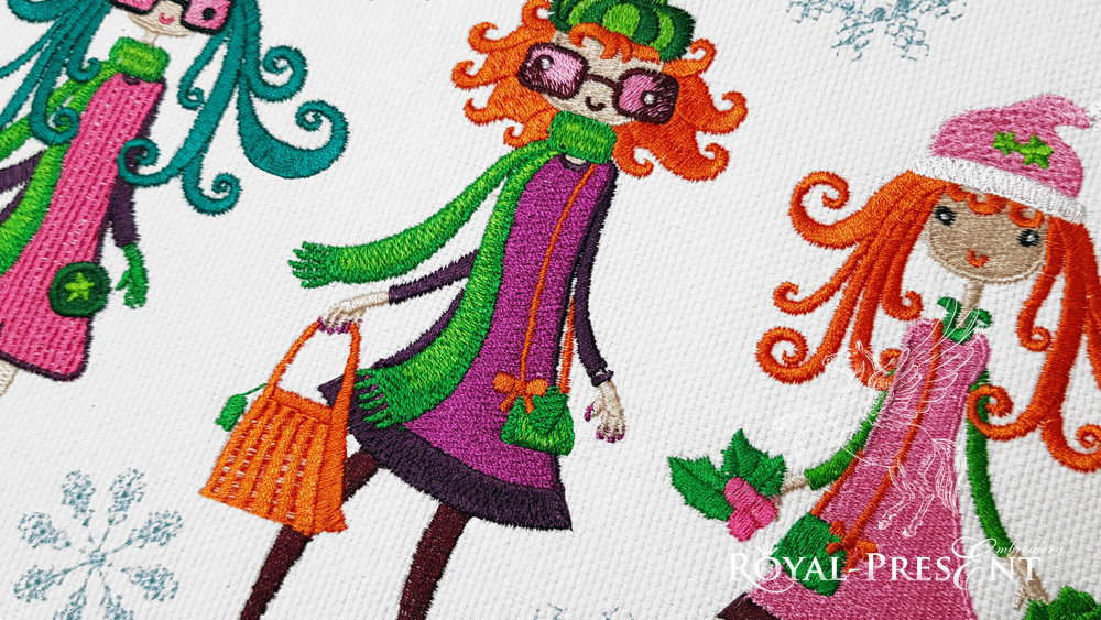 Winter Fashion Girls Machine Embroidery Designs