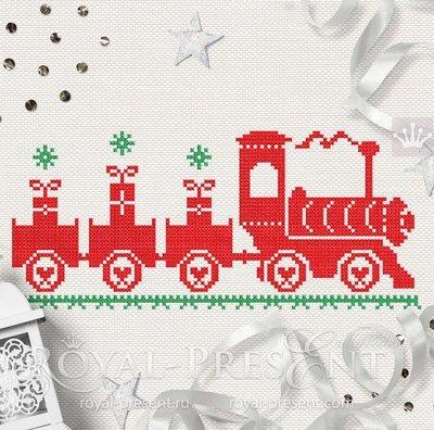 Christmas Train Cross-stitch Machine Embroidery Design - 3 sizes