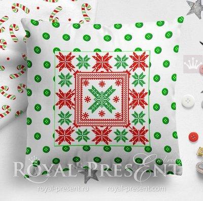 Scandinavian quilt Cross-stitch Machine Embroidery Design - 2 sizes