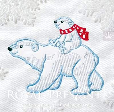 Mom and Baby Polar Bears Applique machine embroidery design - 5 sizes