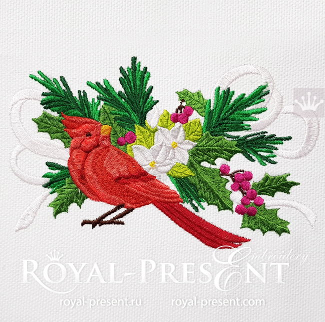 Winter Bullfinch Machine Embroidery Design - 2 sizes RPE-1594