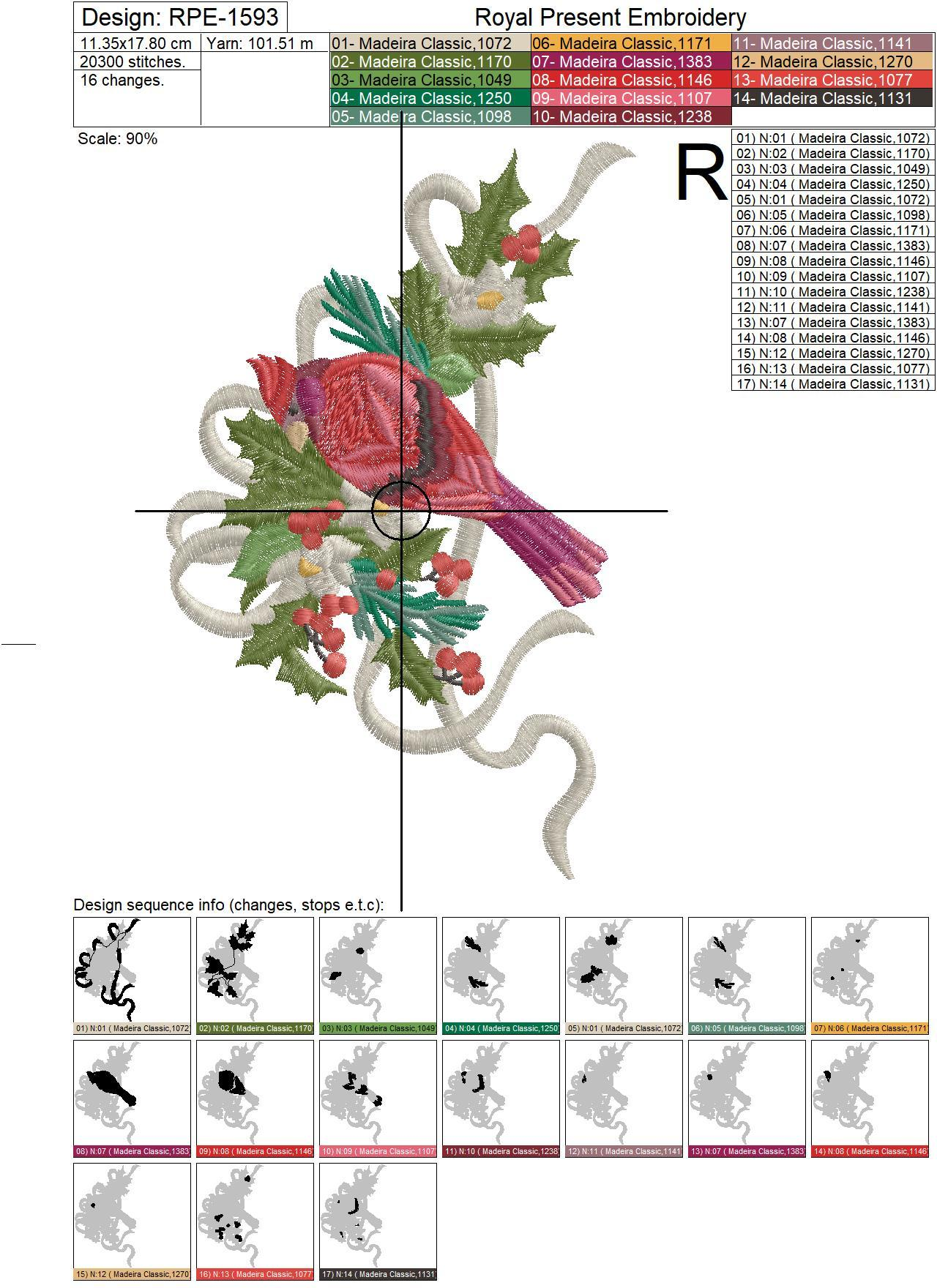 Festive Bullfinch Machine Embroidery Design - 2 sizes