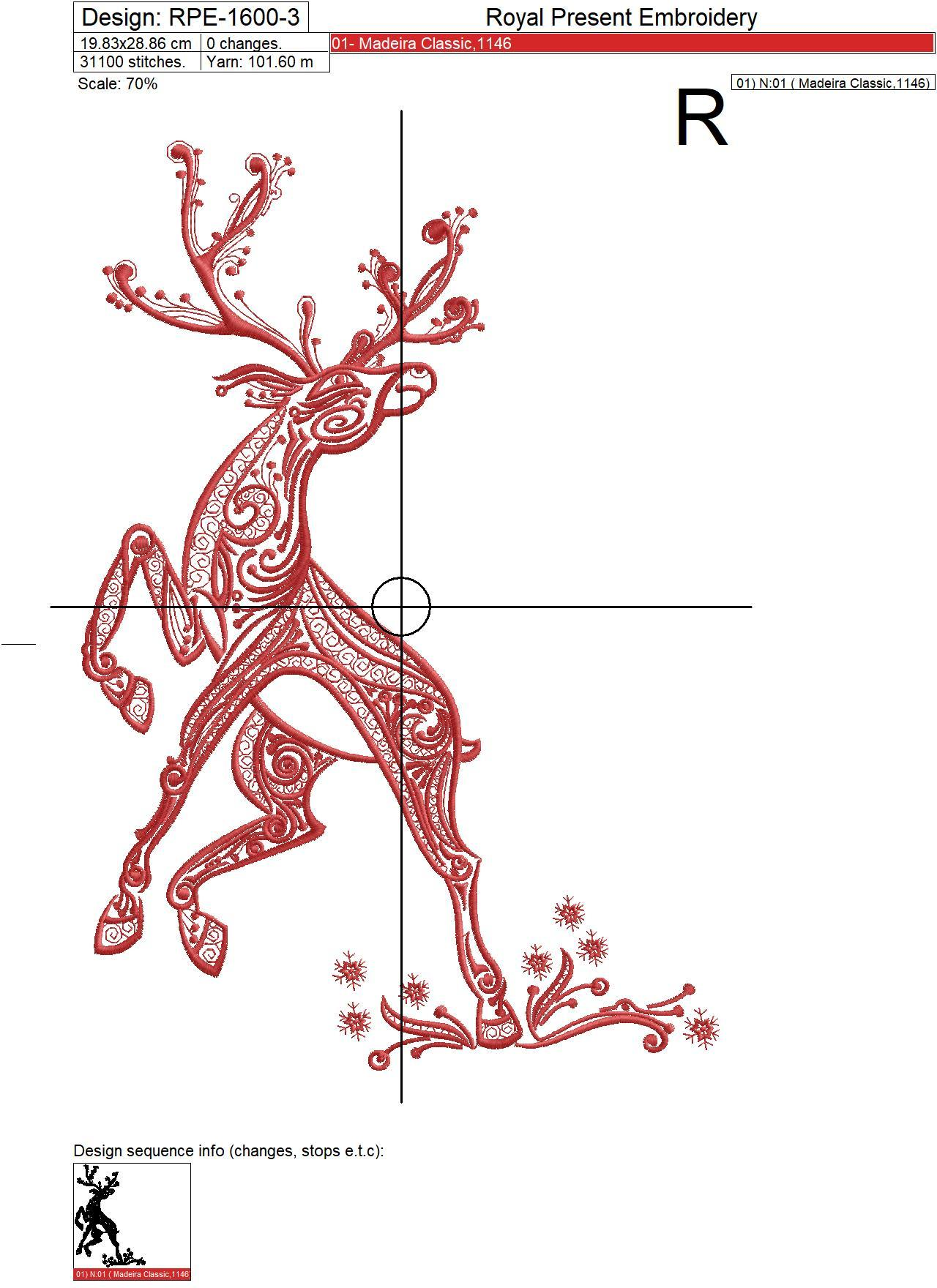 Ornate Deer Machine Embroidery Design - 3 sizes