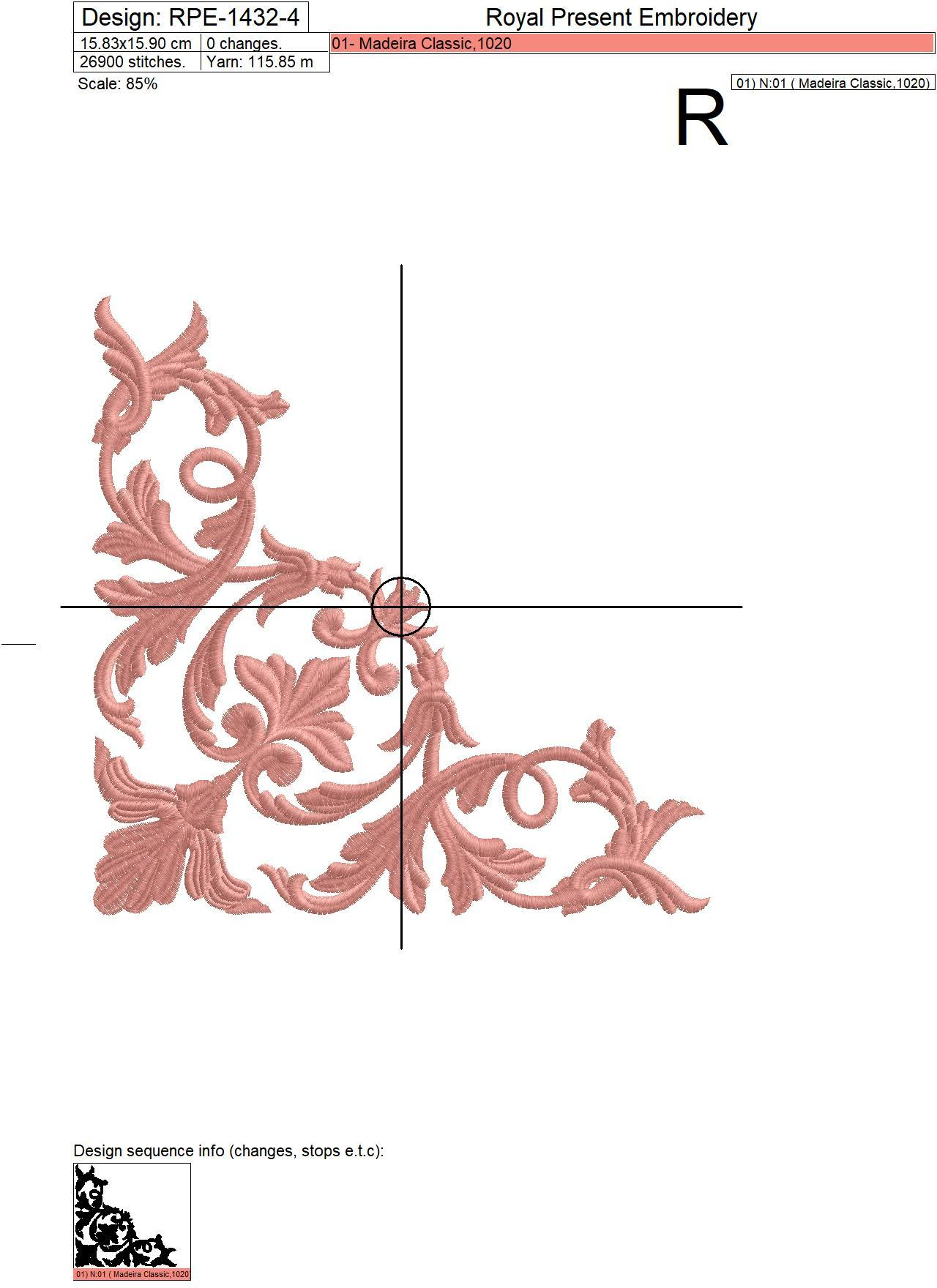 Antique Acanthus machine embroidery design - 4 sizes
