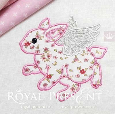 Angel flying Baby Bunny Applique Embroidery Design - 5 sizes